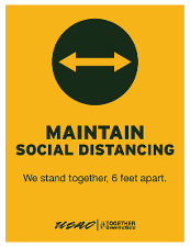 Maintain Social Distancing - We Stand Together, 6 Feet Apart