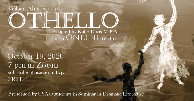 Image of brown water that reads William Shakespeare's Othello - adapted by Katie Davis for an online reading