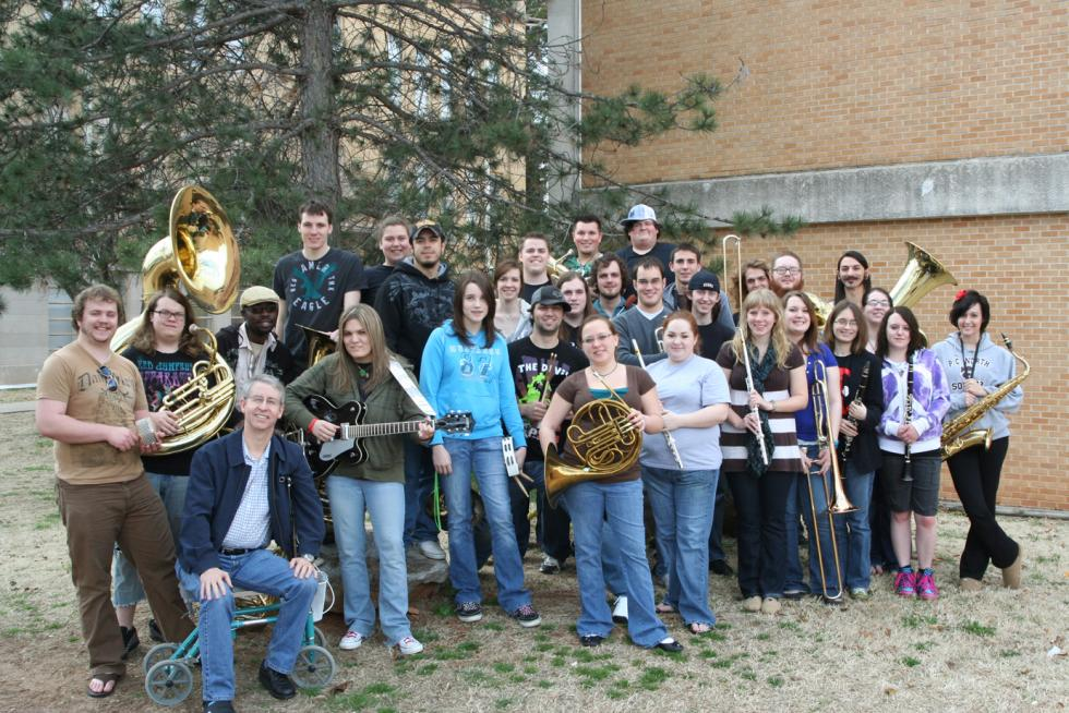 Picture of band in front of Davis Hall