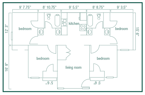 Layout of a Lawson Court apartment